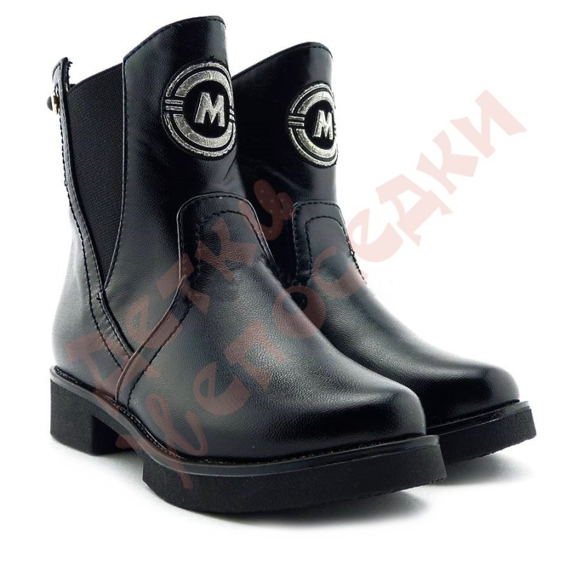 Купить Ботинки для девочки Эмблема М B&G, Черный, 27, 27-32, 27