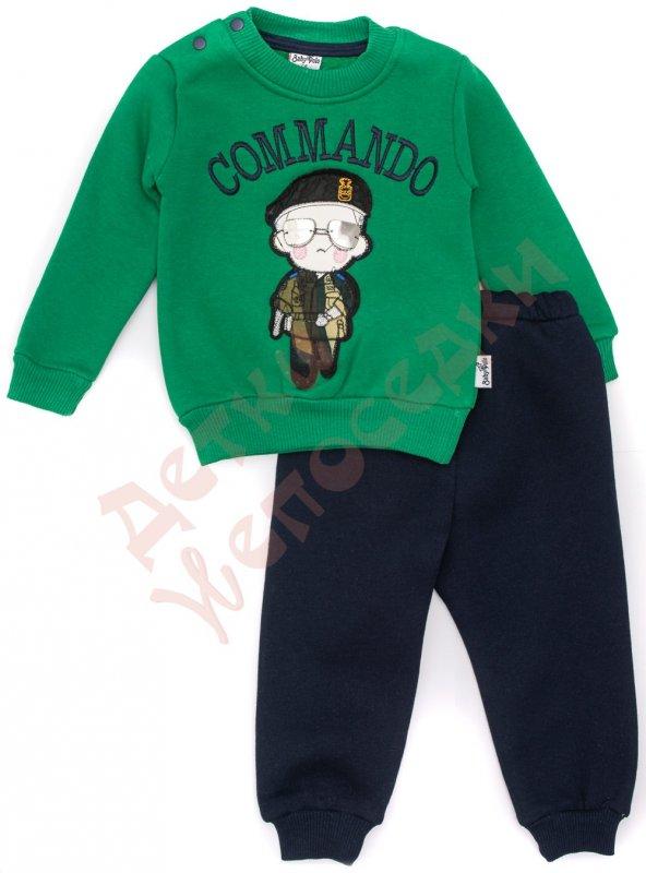 e99cecbf Спортивный костюм для мальчика Мальчик в очках, Турция, зелёный и  тёмно-синий, 86, 74-92, 86 см