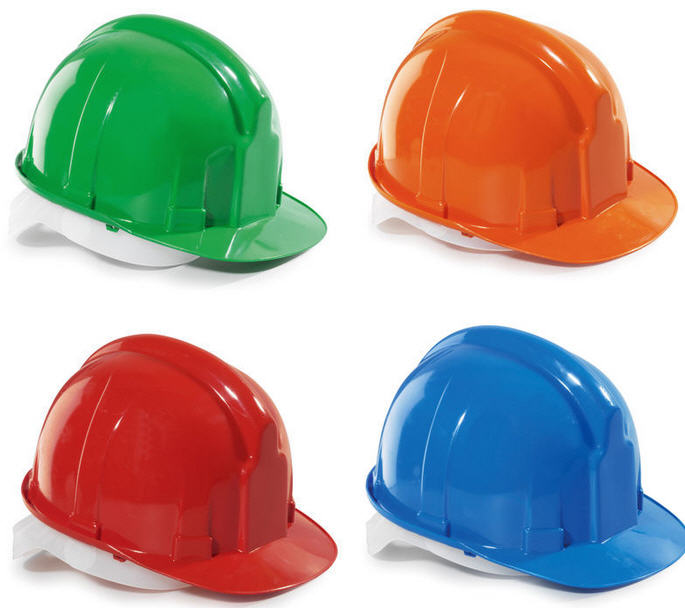 The helmet is construction green