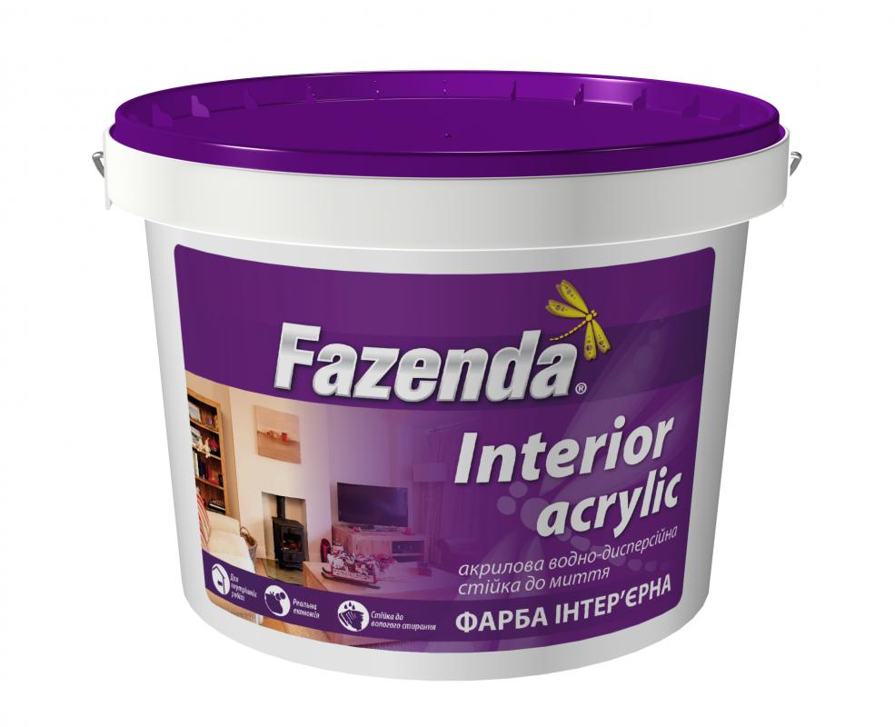 Краска интерьерная для стен и потолков стойка к мытью Interior Acrylic Fazenda