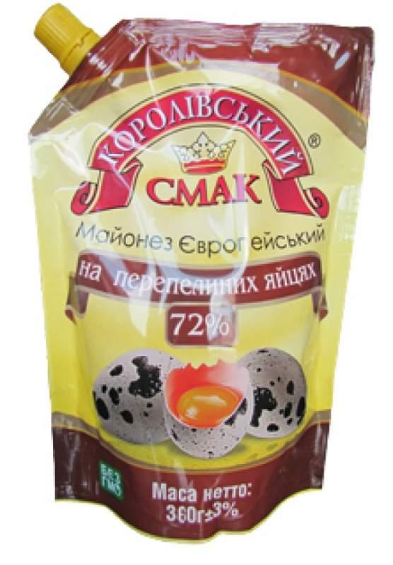 Купить Майонез європейський на перепелиних яйцях (европейский на перепелиных яйцах) 72%, 360 г Дой-пак со штуцером