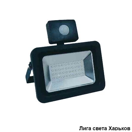 Прожектор LED 20w 6500K IP65 1600LM Lemanso с датчиком чёрный/ LMPS27