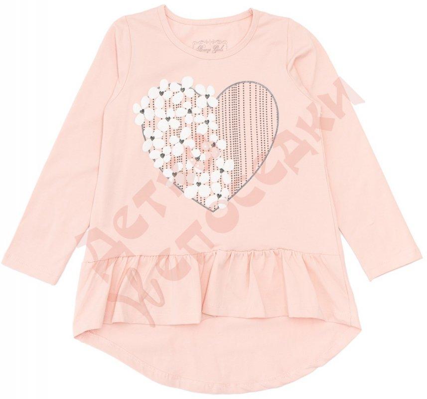 Купить Туника длинный рукав для девочки Сердце с цветами Breeze, персиковый, 152, 116-152, 152 см