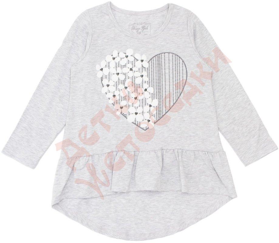 Купить Туника длинный рукав для девочки Сердце с цветами Breeze, Серый, 116, 116-152, 116 см