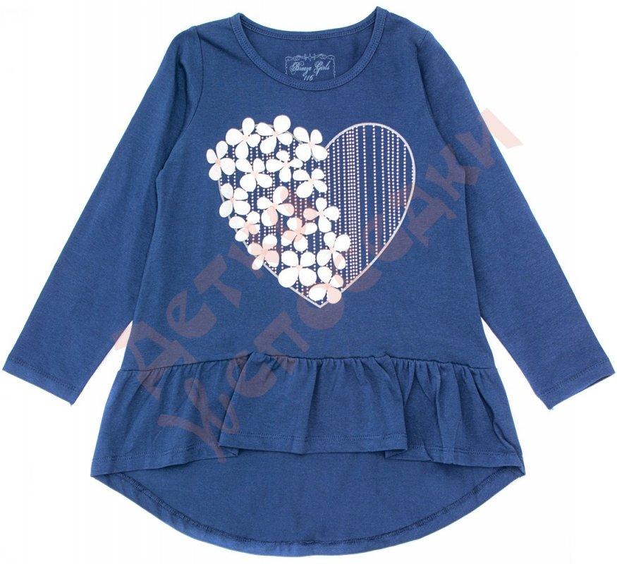 Купить Туника длинный рукав для девочки Сердце с цветами Breeze, тёмно-синий, 128, 116-152, 128 см