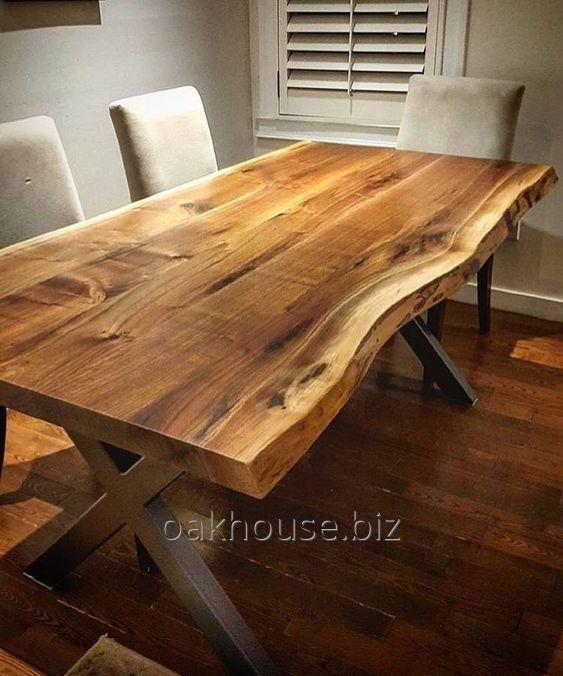 Tischplatte Eiche massiv  mit Baumkante 300x100x5cm