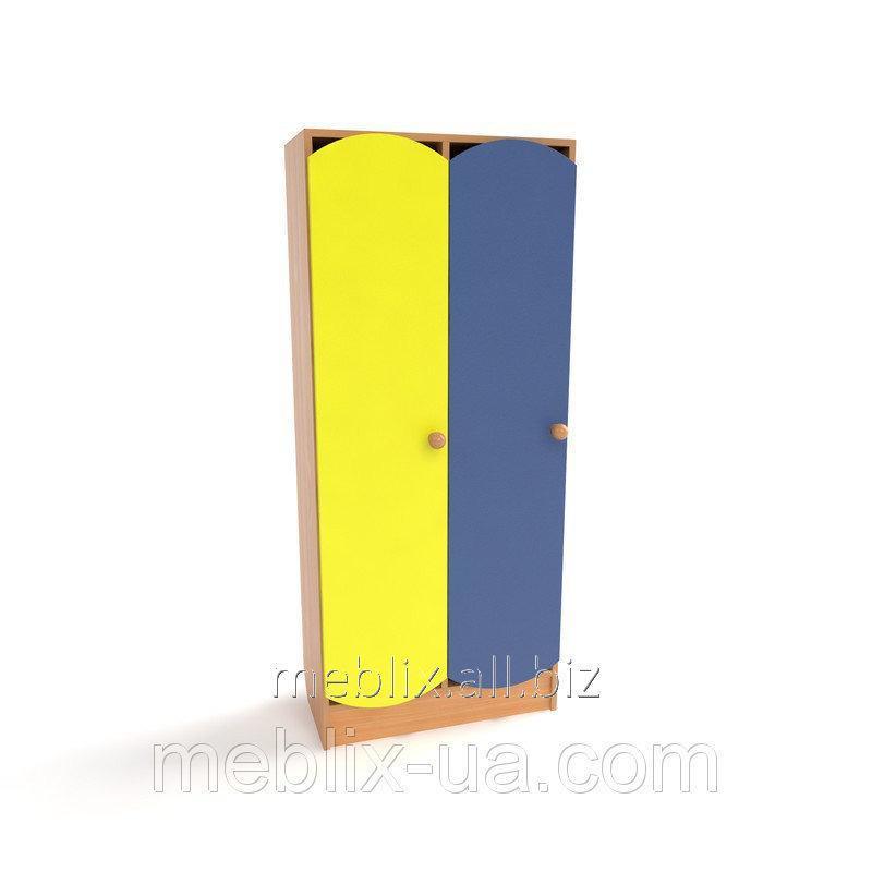 Купить Шкаф для раздевалки детский двухсекционный с цветными дверьми(620*250*1250h)