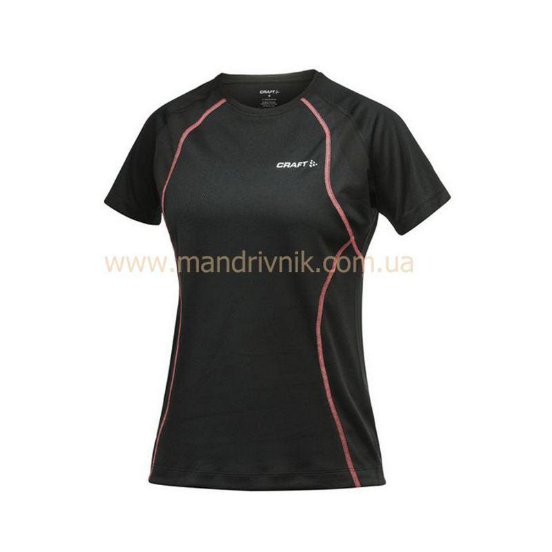 Футболка Craft Active Run 1900766 жфкр Tee with mesh W (9444 black/cheer, L)