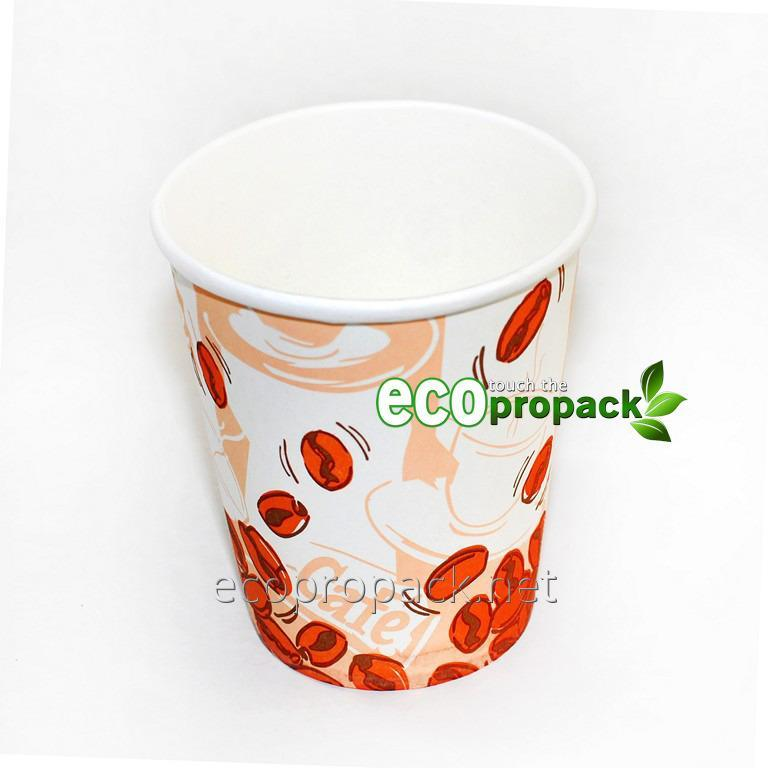 Paper cup of 250 ml of coffee