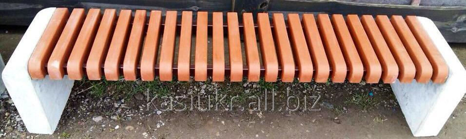 Лавка садово-парковая без спинки с бетонным основанием №5