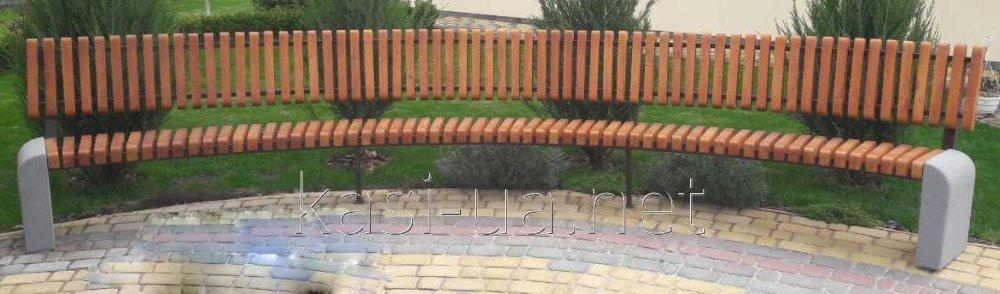 Bench (bench) landscape gardening radial with a back with the concrete basis (4,5 m) No. 6