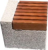 Лавка короткая садово-парковая без спинки с бетонным основанием для шахматного стола №10