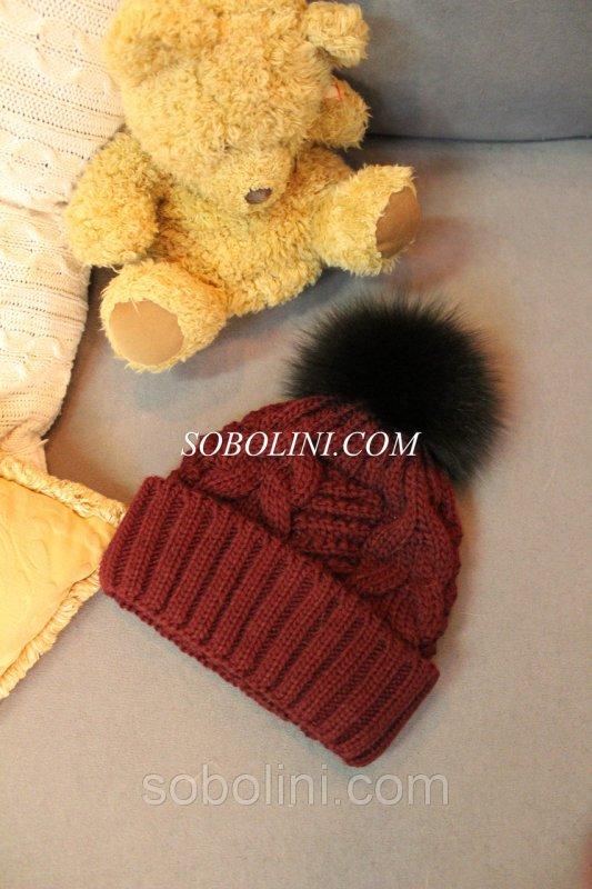 вязаная шапка с меховым помпоном из песца Sobolini интернет