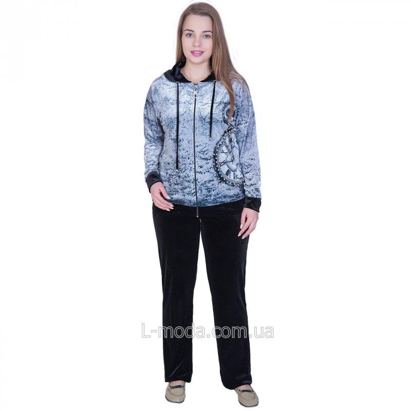 Спортивный костюм женский с принтом часы велюровый с капюшоном Куртка, Вшитый, Женский, Турция, Велюр, 54