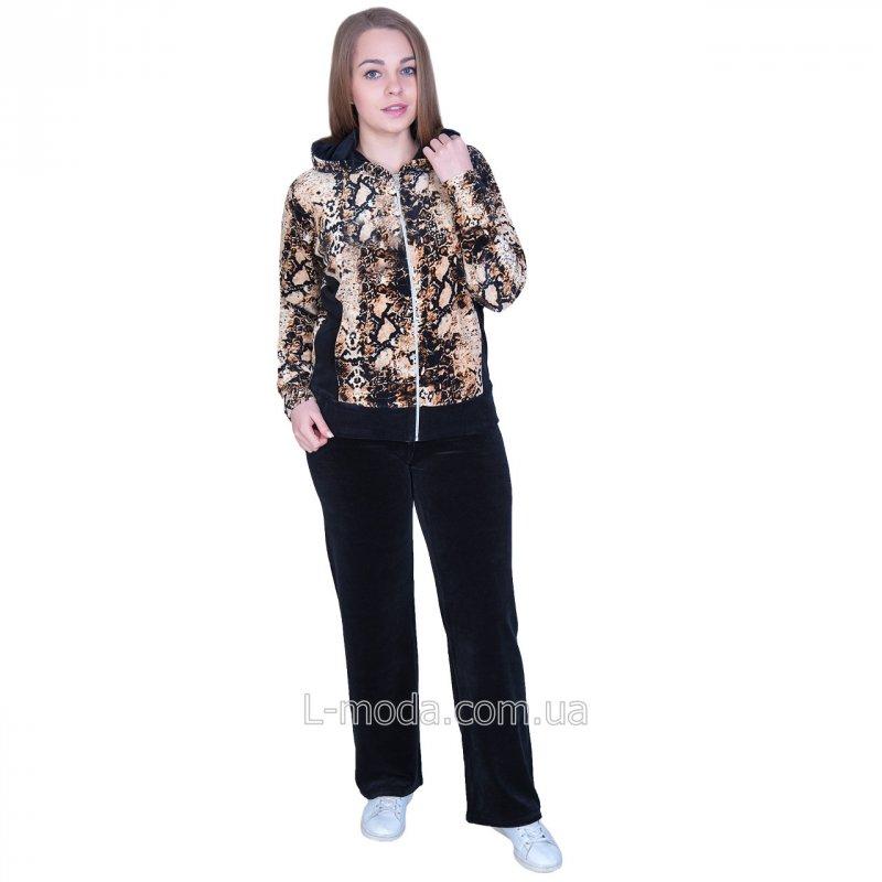 Спортивный костюм женский велюровый с принтом 56