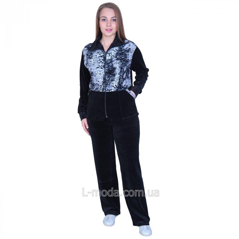 Спортивный костюм женский велюровый с удлиненной курткой 48, арт. 5374