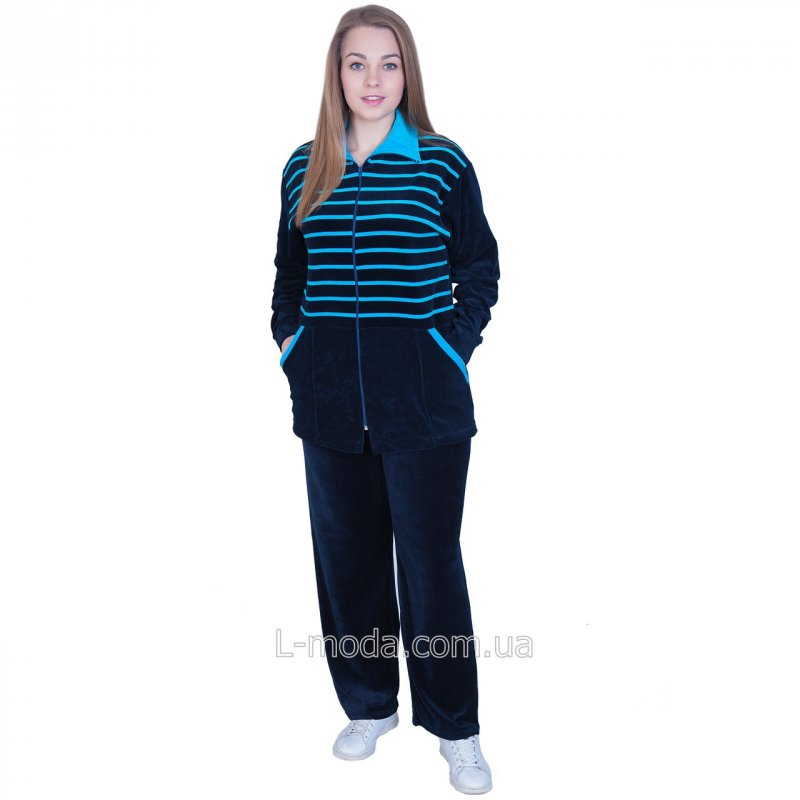 Спортивный костюм женский велюровый полосатый 58