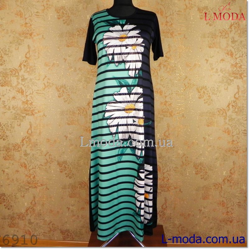 Платье с коротким рукавом белая ромашка 56