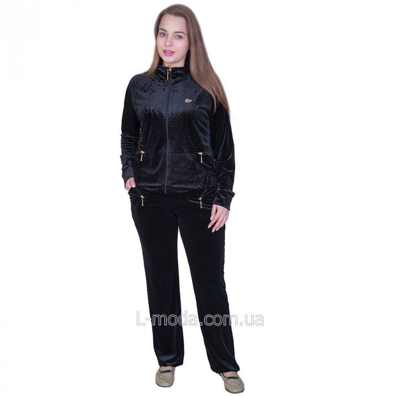 Спортивный костюм велюровый женский черный крокодил 58