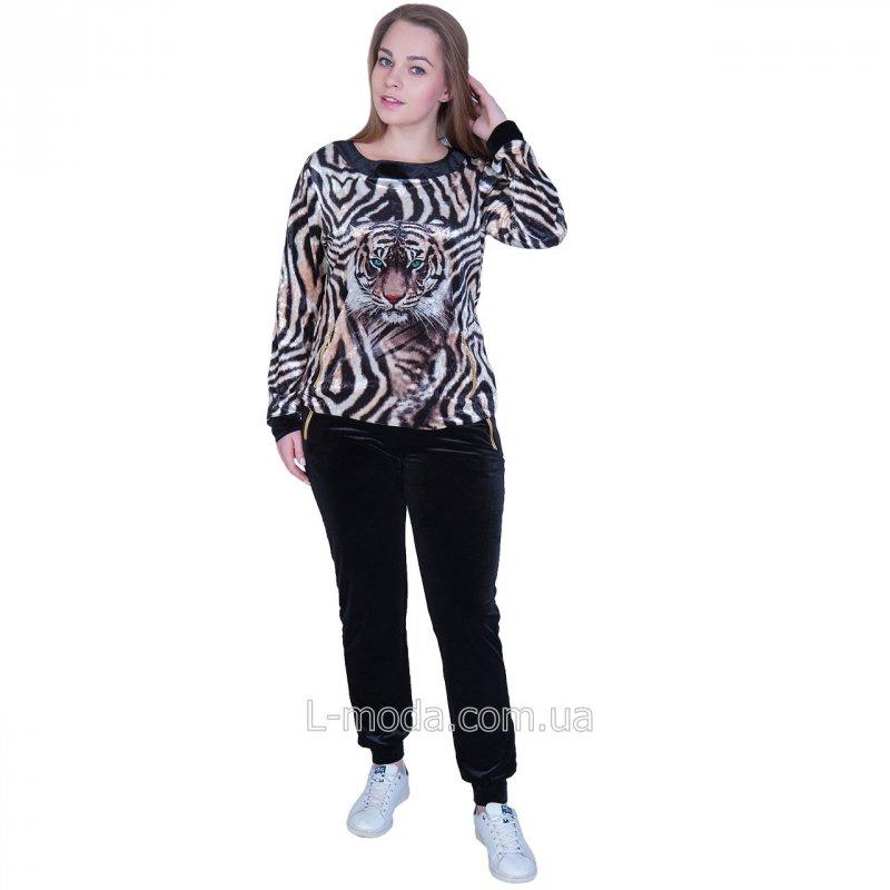 Спортивный костюм женский велюровый с тигром, арт. 54067