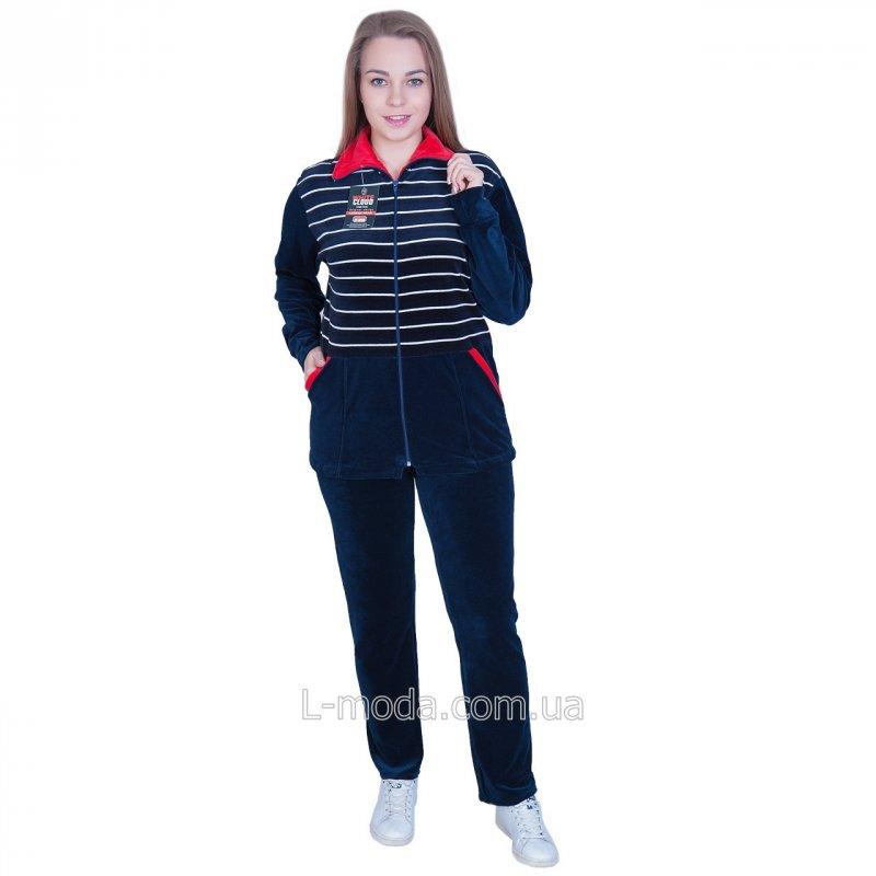 Спортивный костюм женский велюровый с красным воротничком 58