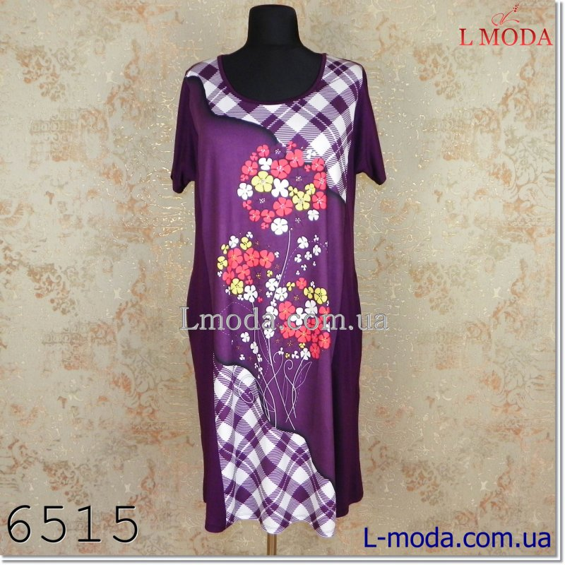 Платье в клетку с цветами 52, арт. 023-4564
