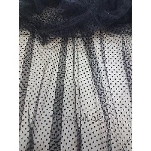 Купить Еврофатин (Флок) горошки цвет - черный № 418