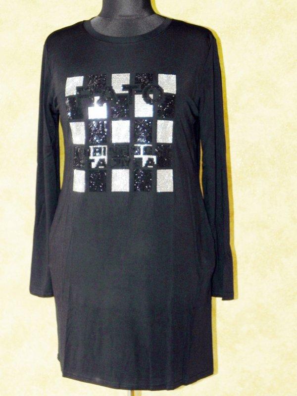 Платье-туника трикотажное с стразами