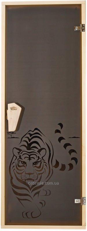 """Дверь для бани с рисунком  """" Тигр"""""""