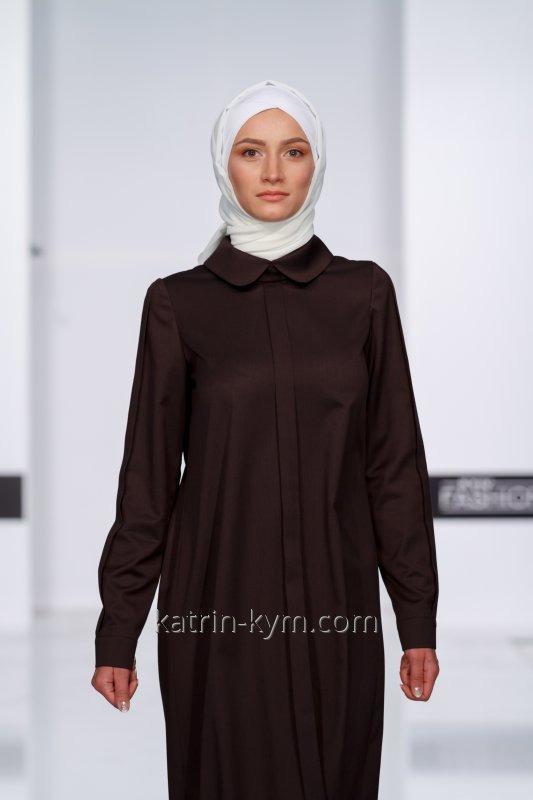Коричневое платье с планкой