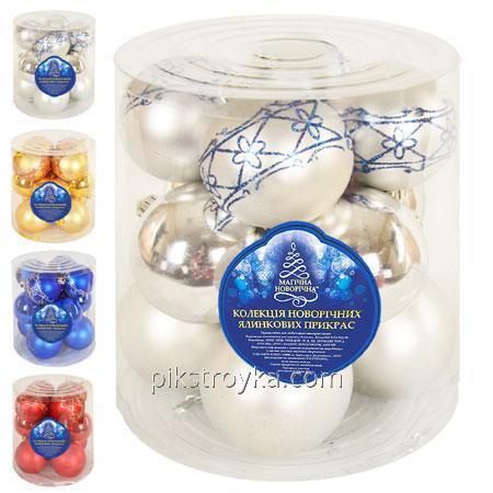 Купить Новый год Игрушка шарик набор д.8см 12шт/кор 8448