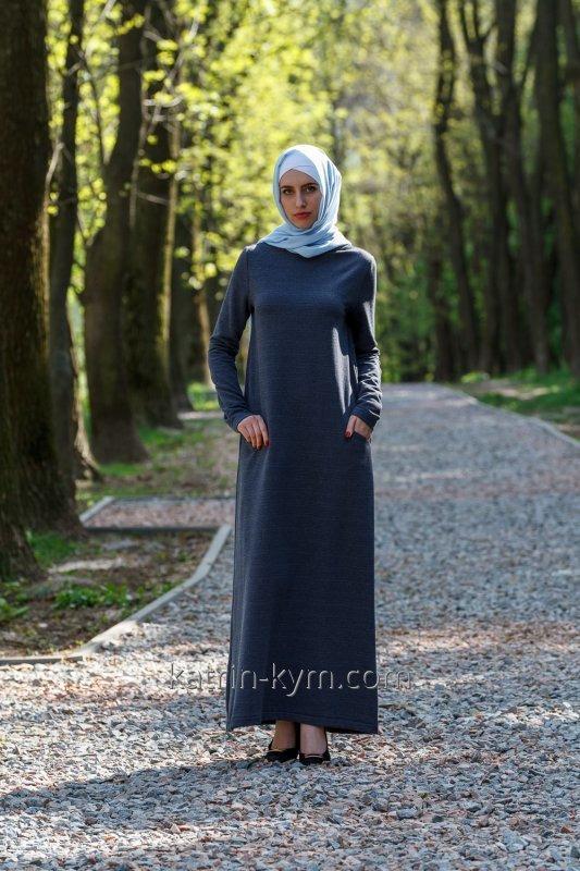 Платье базовое темно-серое