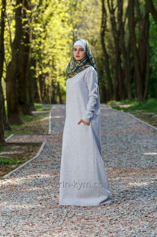 Платье базовое светло-серое