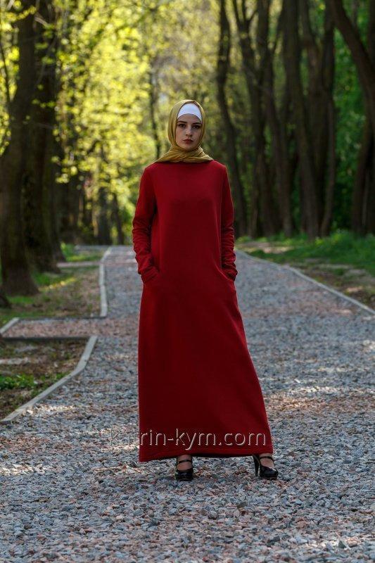 Платье базовое красное