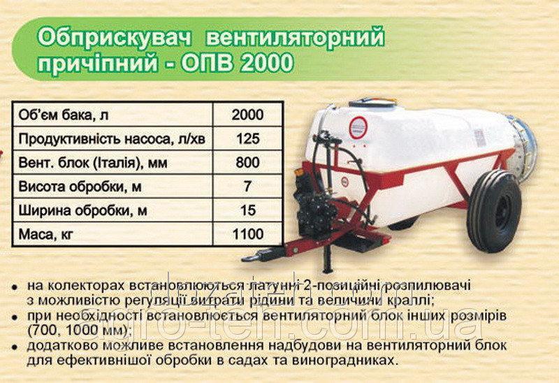 Опрыскиватель вентиляторный садовый ОПВ 2000