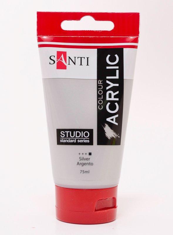 Краска акриловая Santi Studio 75мл Серебро