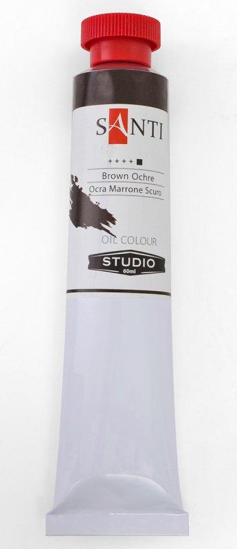 Краска маслянная Santi Studio 60мл Охра коричневая темная №203