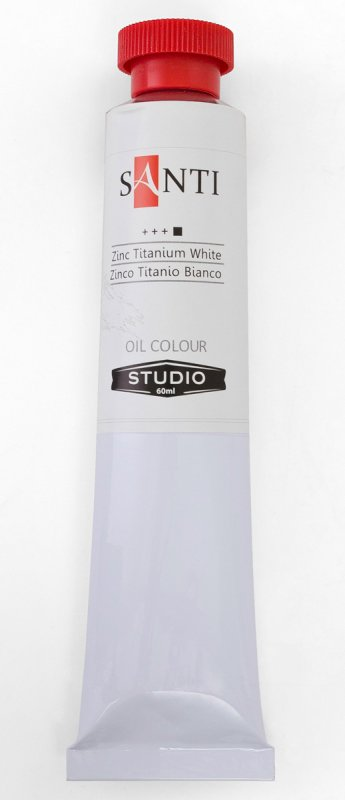 Краска маслянная Santi Studio 60мл Белила цинковые титановые №50