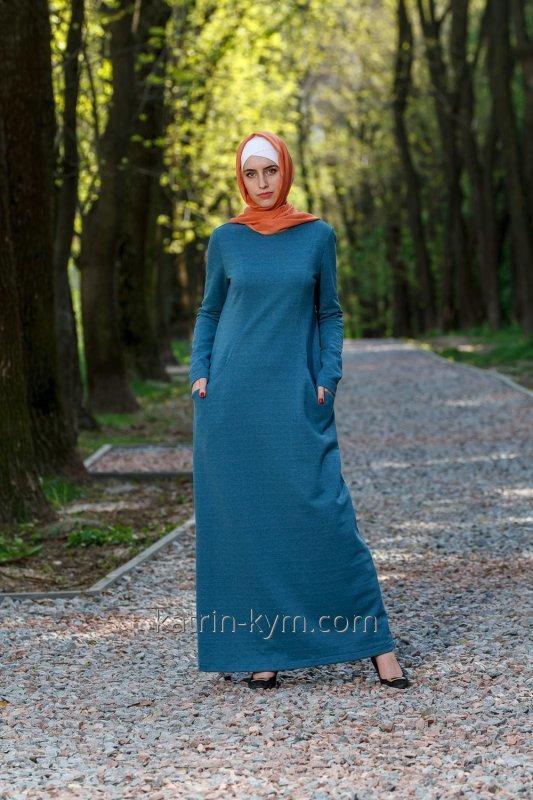 Платье базовое с рельефом бирюза