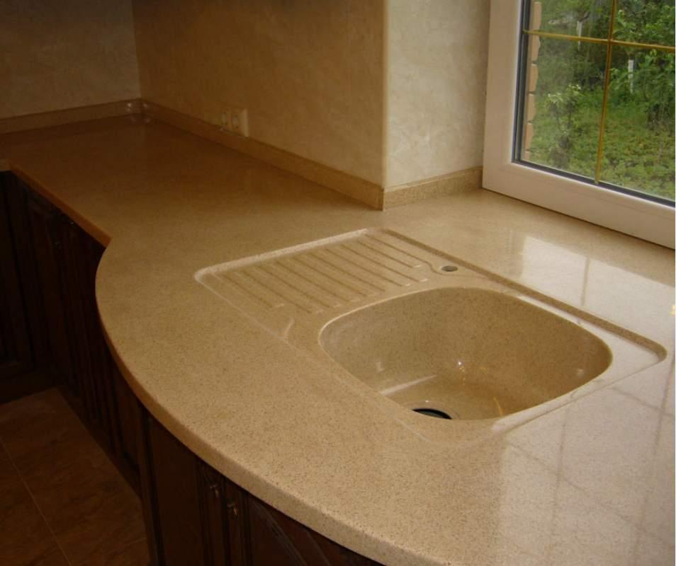 Столешница из искусственного камня с мойкой на кухню столешница compact лигрон цена
