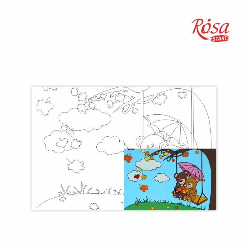 Холст на картоне с контуром Мишки на качелях 20х30 см, GPA283125