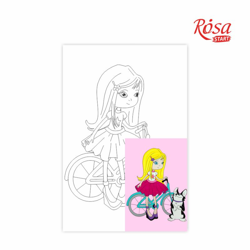 Холст на картоне с контуром Девочка с собачкой 20х30 см, GPA283129