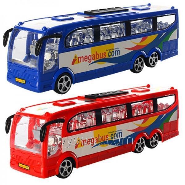 Автобус 818-2, 72шт, инерционный, 25 см, 2цвета, в пакете, 25-6-7,5см