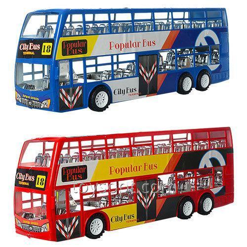 Автобус XY968, 60шт, инерционный, 38см, двухэтажный, 3 вида, в пакете, 38-13,5-8,5см