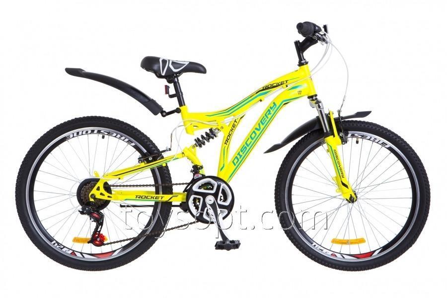 "Велосипед 24"" Discovery Rocket AM2 14G Vbr рама-15"" St желто-синий, м, с крылом Pl 2018"