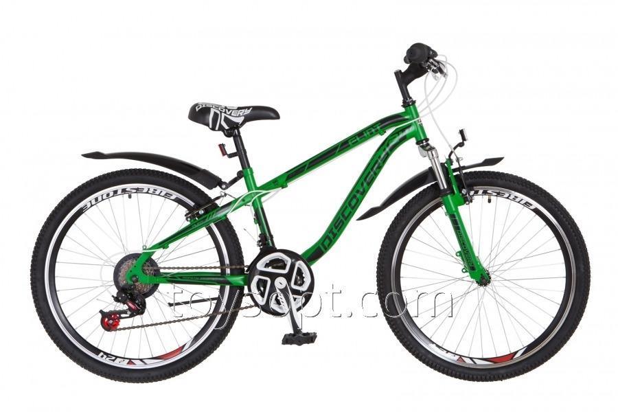 "Велосипед 24"" Discovery Flint AM 14G DD рама-13"" St зелено-черный, м, с крылом Pl 2018"
