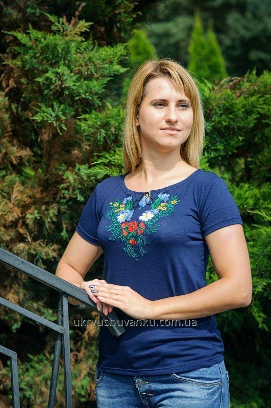Вышитые женские футболки ВОЛОШКА А-6