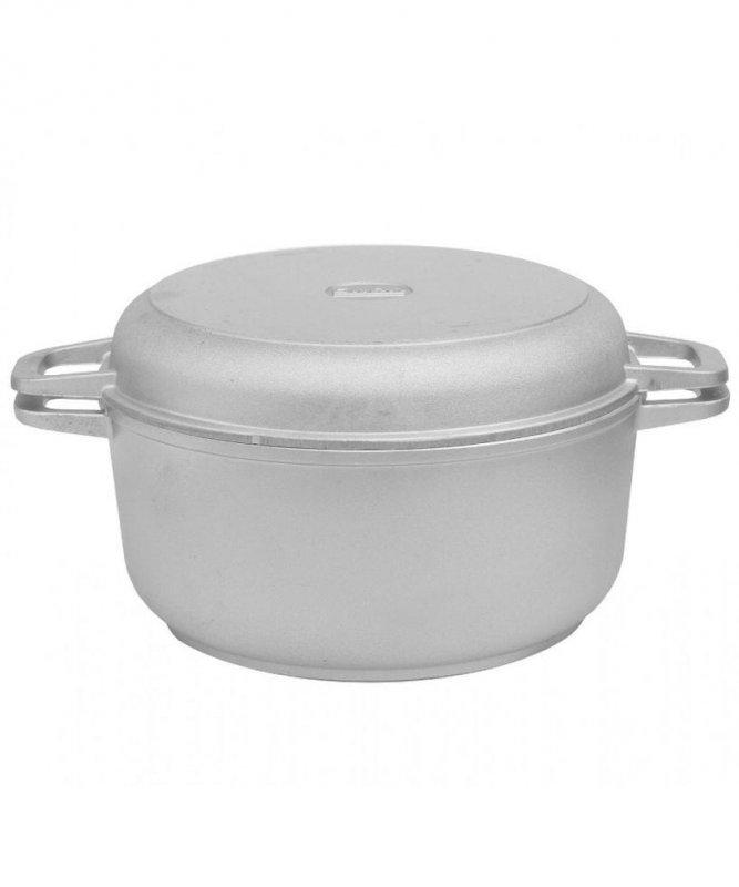 Кастрюля алюминиевая с утолщенным дном и крышкой-сковородой 2 л