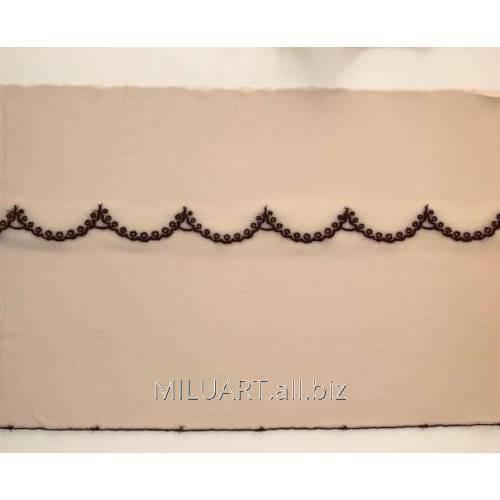 Кружево вышивка на сетке бежевое 50-22