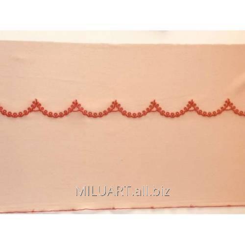 Кружево вышивка на сетке бежевое 51-22